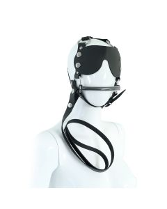 Leather Head Harness with Eye Patch and Leash
