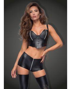 DISCONTINUED: High waist powerwetlook shorts with zipper - L