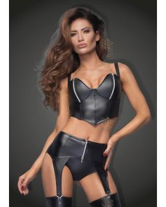 DISCONTINUED: Powerwetlook top with silvers zippers on breast - L