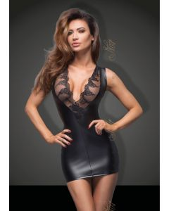 DISCONTINUED: Powerwetlook minidress with lace cleavage - XL