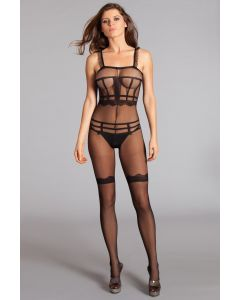 DISCONTINUED Ruffle Shoulder Strap Crotchless Sheer Bodystocking BWB105