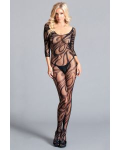 Scooped Neck and Back Long Sleeve Bodystocking BWB111