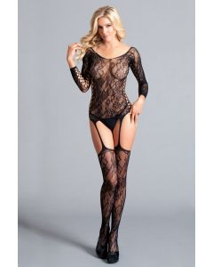 Long Sleeved Suspender Body Stocking Lace Up Details BWB114