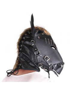 Horse Mask Black Leather