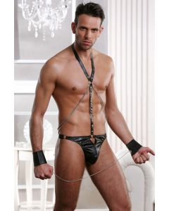 Men's Faux leather thong harness